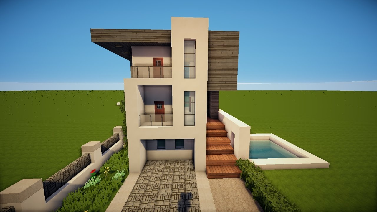 Modernes wei es minecraft haus bauen tutorial german for Minecraft haus modern