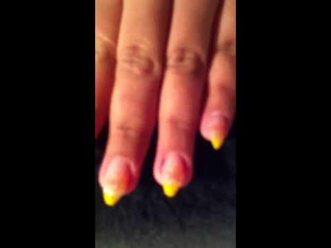 acryl modellage n gel nails glitter yellow orange vorher nachher youtube. Black Bedroom Furniture Sets. Home Design Ideas