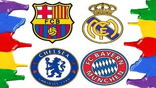 How to Draw and Color - Barcelona, Real Madrid, Bayern Munich and Chelsea Logos Coloring Pages