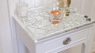 D.I.Y Restoration Mosaic Mirrored Side Table// IRWIN Furniture Restoration