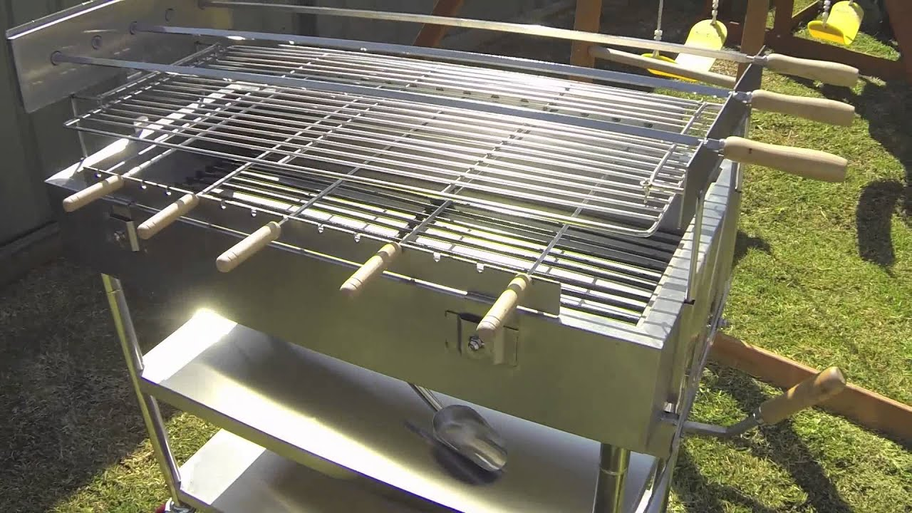 Stainless Steel Charcoal Spit Rotisserie Grill Bk Ssc 01