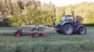 1 Schnitt 2020 Schwaden mit Deutz Agrotron 6160.4 P und Claas Liner 2600