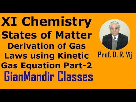 XI Chemistry -State of Matter -Derivation of Gas Laws using Kinetic Gas Equation Part-2 by Ruchi Mam
