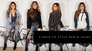 5 WAYS TO STYLE DENIM JEANS | Lina Noory