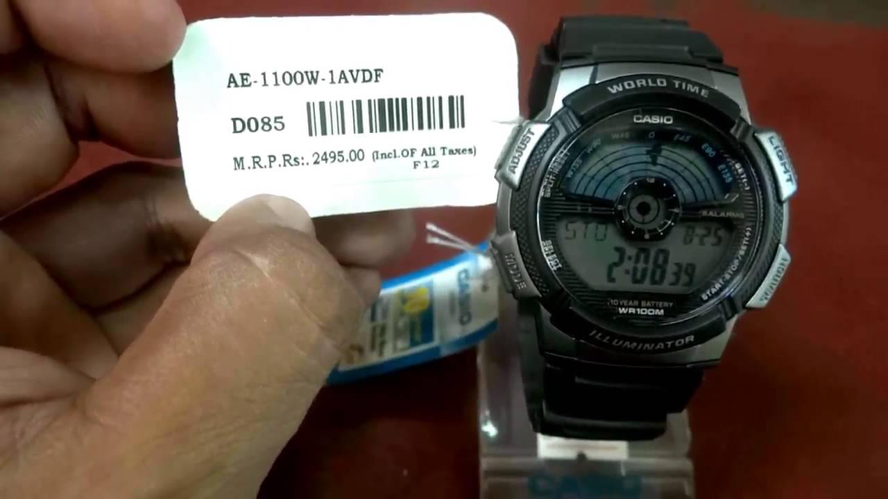 Casio Youth Men Wrist Watch Ae 1100w 1avdf D085 Review Youtube World Time 1000w 1a Original