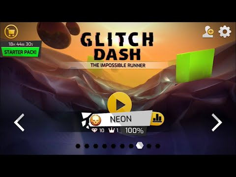 Glitch Dash: Level - NEON (Perfect Run,100%,All Diamonds,Crowns) IOS Gameplay Walkthrough (HD)
