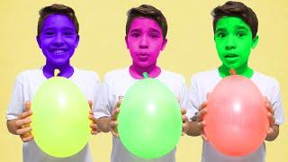 João Pedro e Rafael fazem Brincadeiras Divertidas com BALÕES MÁGICOS | Magic Balloons