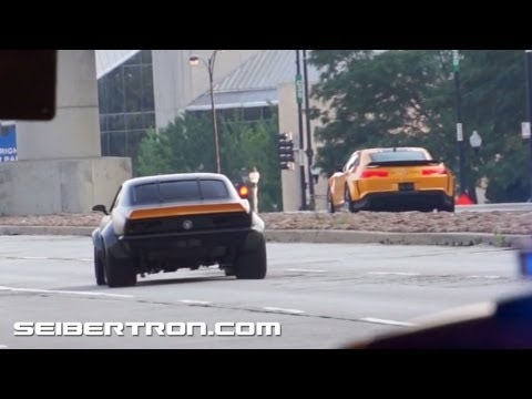 Transformers 4 Age of Extinction filming in Chicago: Autobot Bumblebee Chevrolet Camaros