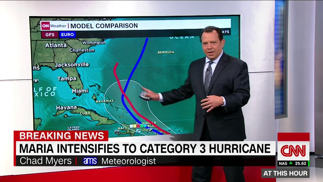 Hurricane Maria intensifies to a Category 3 storm