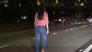 She's Lost: Drunk Woman Pees & Stumbles In The Middle Of The I-15 Freeway In San Diego!