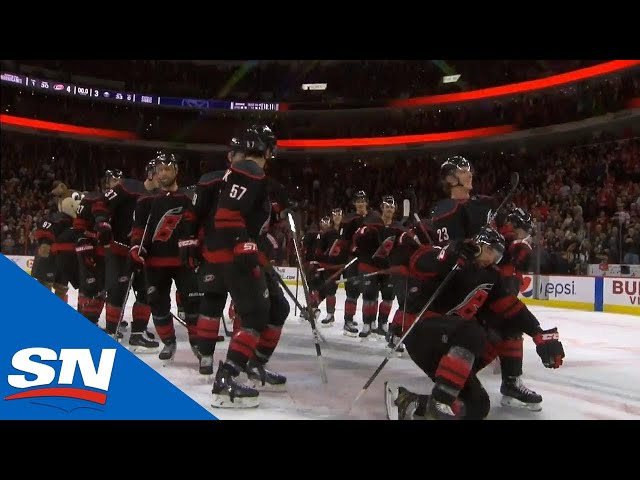 Watch as the Carolina Hurricanes go bowling to celebrate beating the Buffalo Sabres.