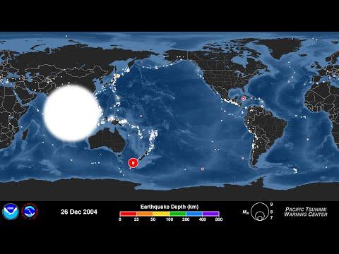 """Este vídeo incluye el 10 aniversario del terremoto de Sumatra-Andamán 9,1 grados de magnitud que generó el tsunami del Océano Índico en 2004, uno de los peores desastres en la historia con una cifra de víctimas superior a 200.000 personas. En la década que siguió a este evento no han sido muchos más los tsunamis provocados por grandes terremotos, y esta animación muestra todos los terremotos en secuencia a una velocidad de 30 días por segundo desde el 1 de diciembre de 2004 hasta el 30 de noviembre de 2014, concluyendo con un mapa que muestra todos los terremotos registrados en este lapso de tiempo. A continuación, la transición a un mapa que muestra sólo los sismos con magnitud 6.5 o mayor (alrededor de 500 en total), el tamaño más pequeño conocido para generar un tsunami peligroso y por lo tanto el umbral PTWC utilizado típicamente para comenzar a evaluar el riesgo de tsunami. A continuación, la transición una vez más a un mapa que muestra los terremotos con magnitud 8.0 o mayor (17 en total), los """"grandes"""" terremotos que tienen más probabilidades de presentar un peligro de tsunami si se producen cerca del fondo marino."""