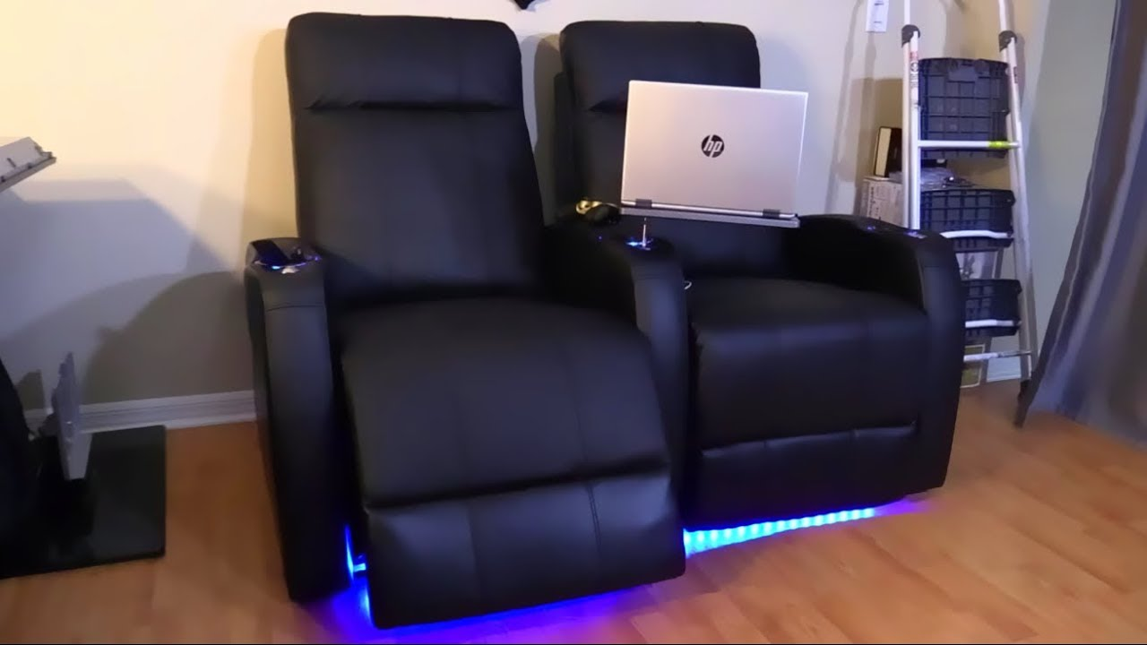 Home Theater Power Recliner Sofa Chairs with USB Charging and LED Lighting