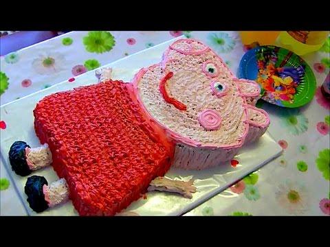 Торт свинка Пеппа пиг украшаем торт кремом Cake Peppa pig