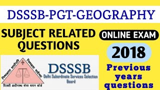 Dsssb pgt geography female previous  years 2018 paper   PGT geography Online Paper 2018