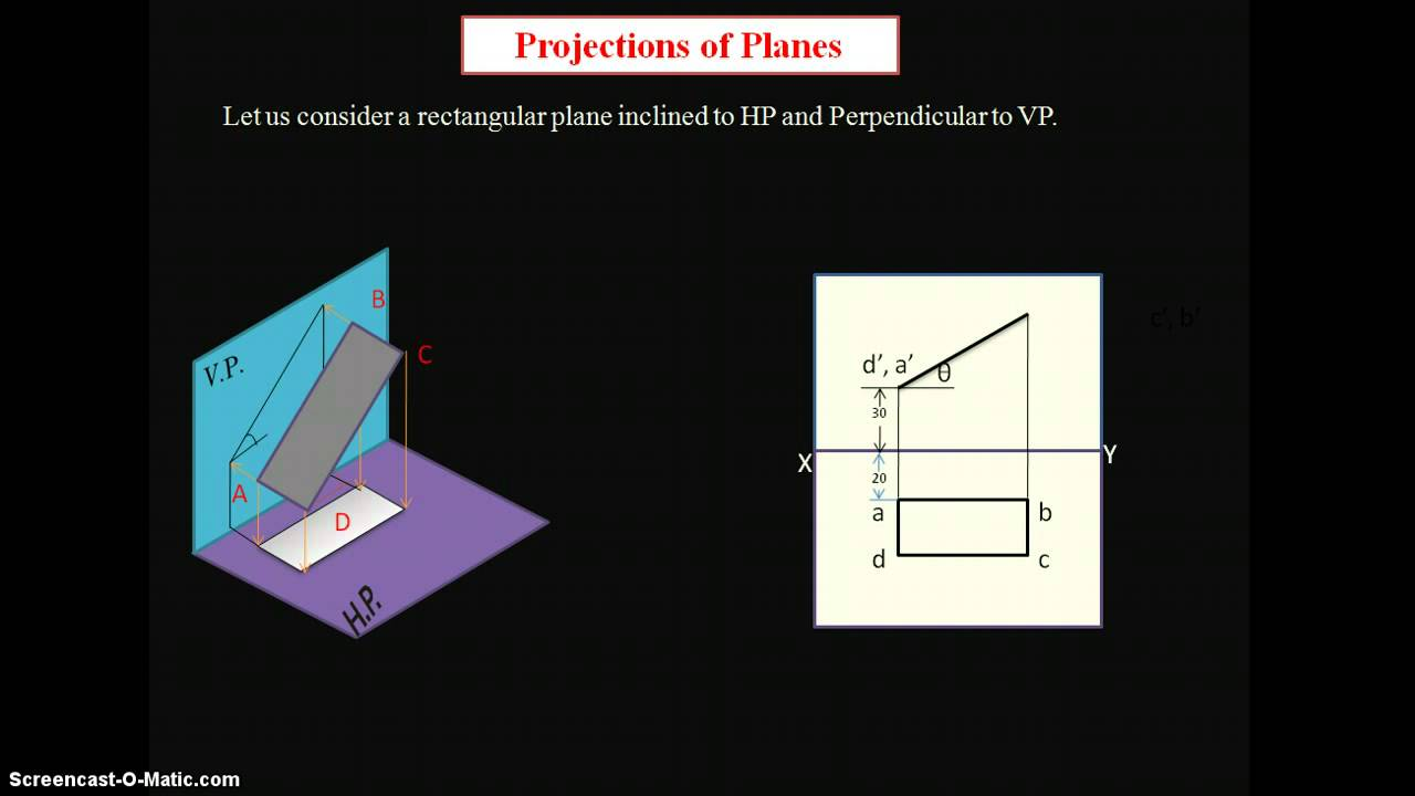 Engineering Drawing projections of plane inclined to HP and perpendicular to VP - YouTube