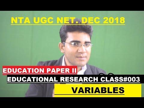 NTA UGC NET I EDUCATION PAPER II I EDUCATIONAL RESEARCH I CLASS #003 I VARIABLES