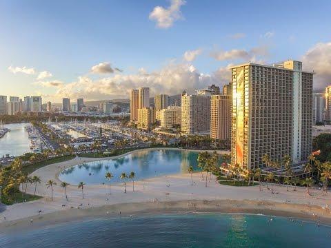 Honolulu Hawaii - flying over Waikiki beach Honolulu - drone footage