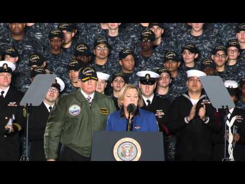 President Trump Arrives Aboard The Future USS Gerald R. Ford For Speech