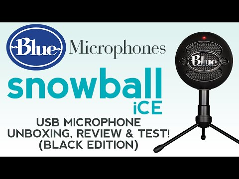 Blue Snowball iCE Black USB Microphone Unboxing, Review & Audio Test!