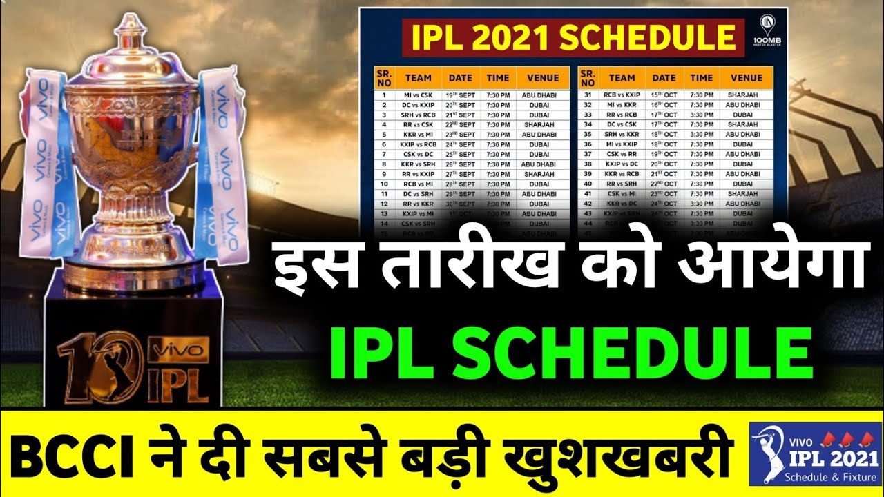 IPL 2021 : BCCI Big Update on Final Schedule of Vivo IPL 2021 | IPL 2021 Schedule