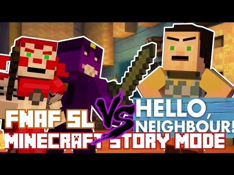 FNAF Sister Location vs HELLO NEIGHBOR ! Minecraft Story Mode (Custom Theme)