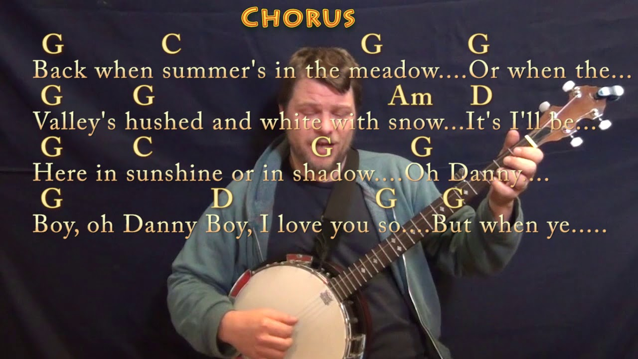 Danny Boy Traditional Banjo Cover Lesson In G With Chordslyrics