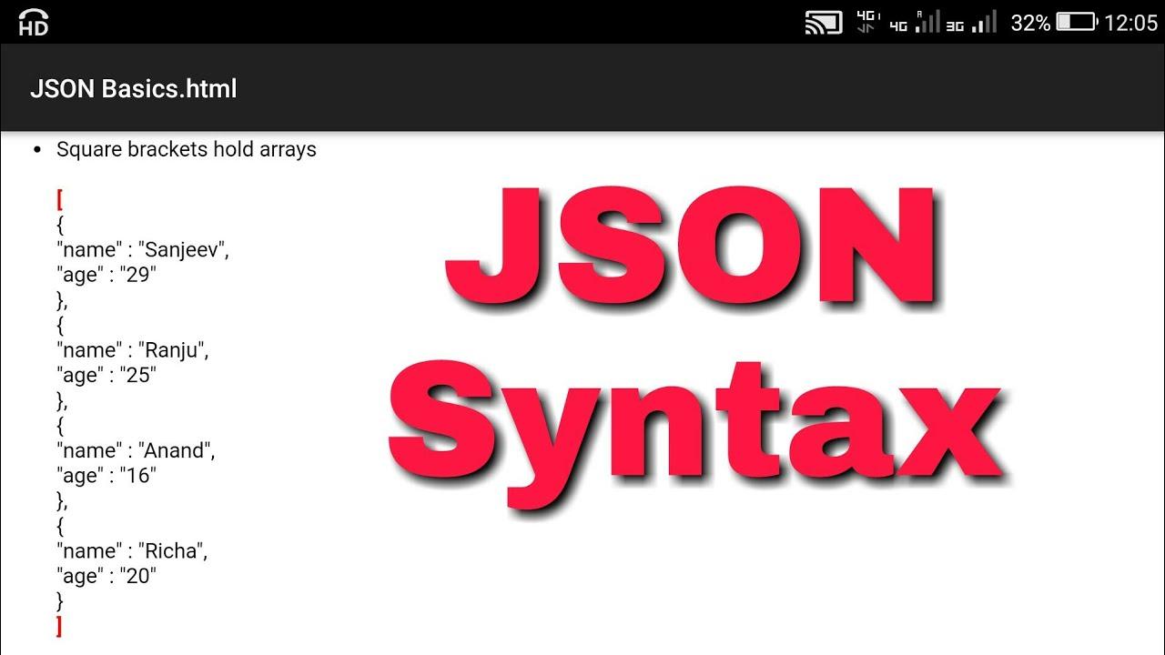 Json Syntax, Json object and Json array