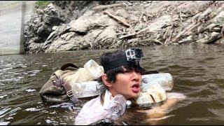 【キチガイ】ペットボトルライフジャケットと丸太で川を下ったら死にかけた 遭難した山から脱出#5 survaival in japan thumbnail