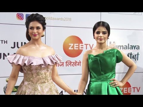 Divyanka Tripathi, Jigyasa Singh (Thapki) Arrive At 11th Gold Awards 2018
