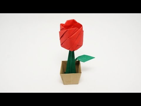 Origami Rose in a Pot-Jo Nakashima