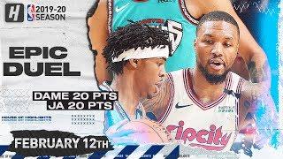 Ja Morant vs Damian Lillard EPIC Duel Highlights | Blazers vs Grizzlies | February 12, 2020