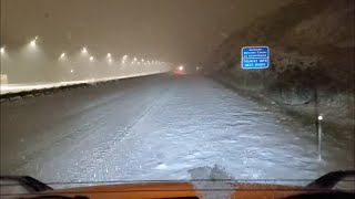 Download Trucking at Night in the Rockies With a Light Trailer During a Snow Storm!!.. First Snow Trip!! Mp3 and Videos