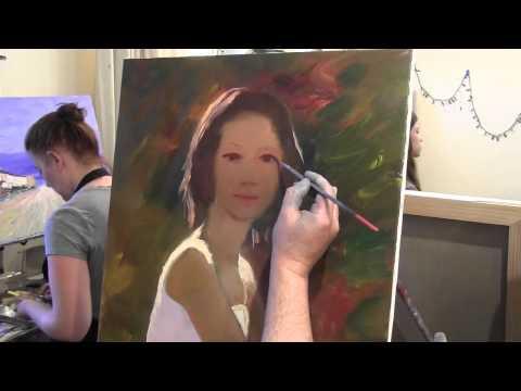Женский портрет маслом, автопортрет, курсы рисования в Москве, художник Сахаров