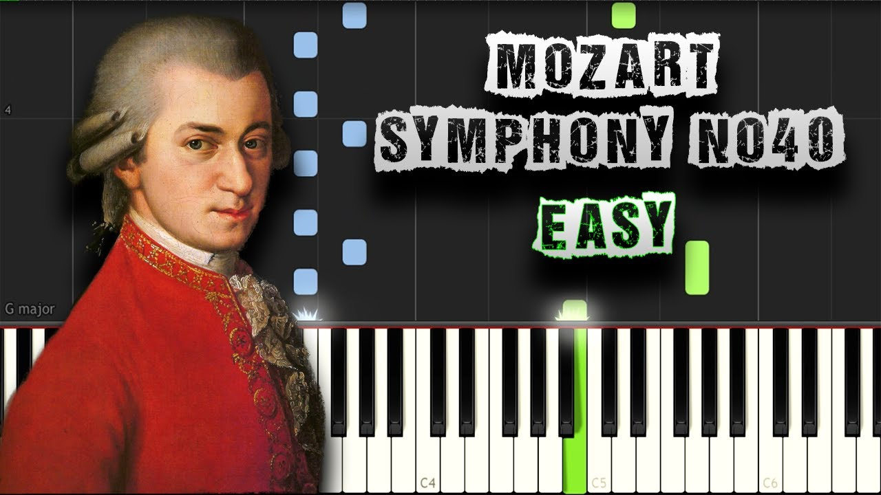 Mozart - Symphony No  40 - EASY - [Piano Tutorial Synthesia] (Download MIDI)