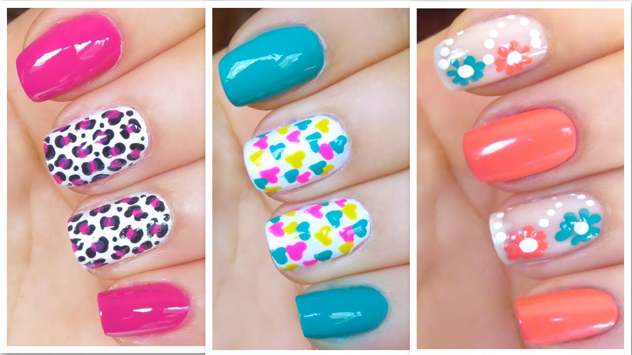 3 cute nail art designs for springsummer 2 youtube prinsesfo Choice Image