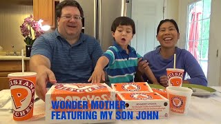 Filipina and Filam eat Popeyes |Popeyes Fried Chicken restaurant meal | John eats a meal with family