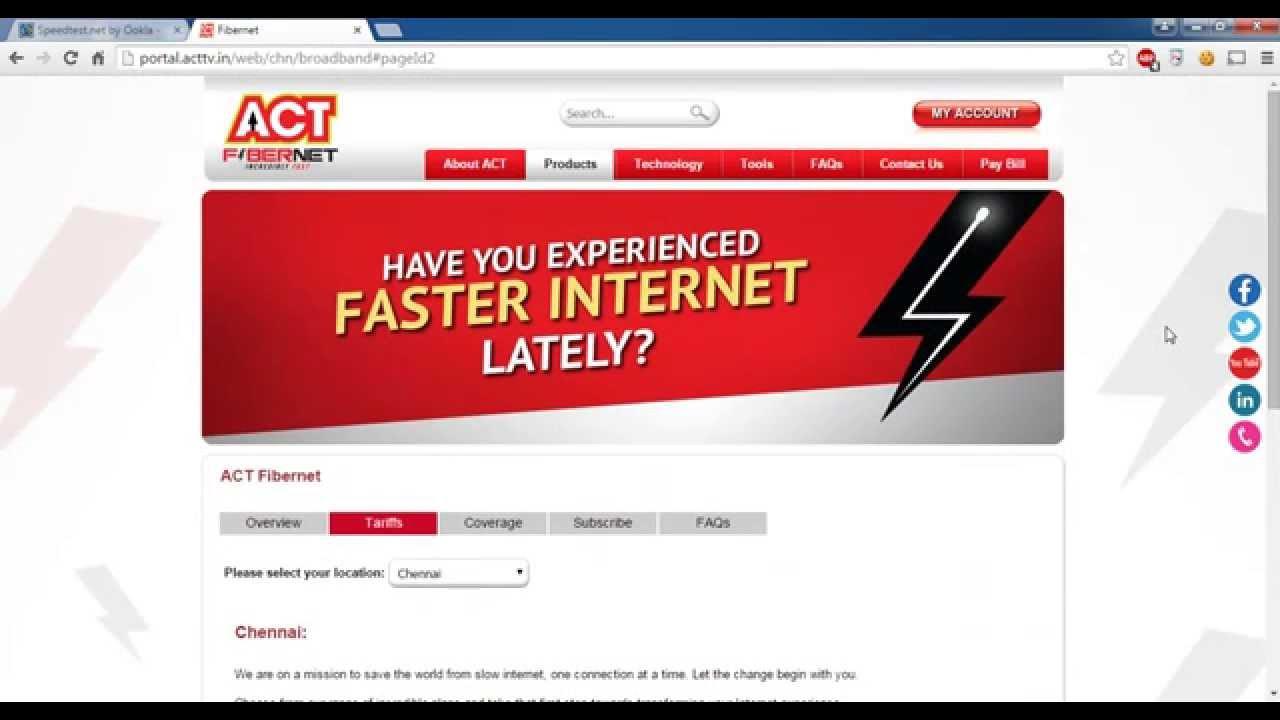Fastest Internet in India? ACT FIBERNET!!