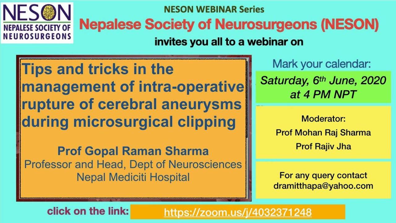 Download NESON Webinar: Intra operative rupture of Cerebral aneurysm