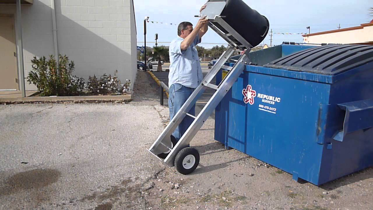 Hand Truck Dump Dolly Easily Lift Garbage Cans Youtube