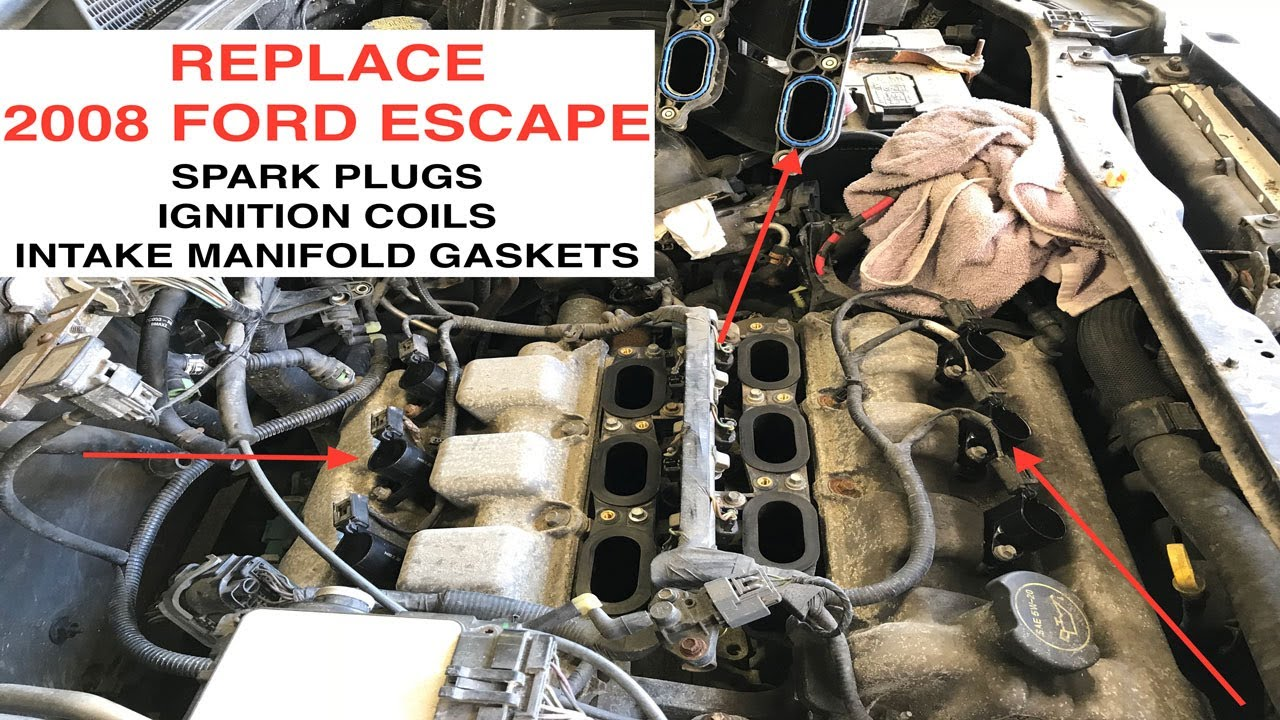 medium resolution of 2008 ford escape spark plug ignition coil and intake manifold gasket replacement duratec 3 0l v6