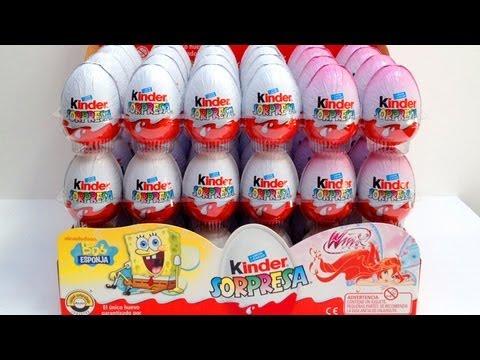 ★24 Spongebob & Winx Kinder Surprise Eggs unboxing chocolate ...