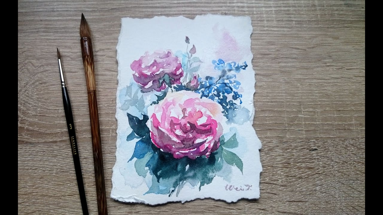 Watercolor art history brush - Painting Watercolor Rose With Chinese Brush
