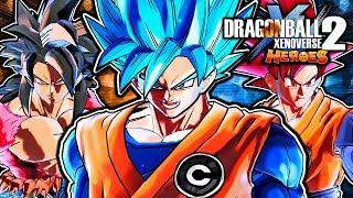Dragon Ball Xenoverse 2 PC: SSGSS Goku (CC) Vs SSJ4 Xeno Goku DLC Mod Pack Gameplay (DB Heroes)
