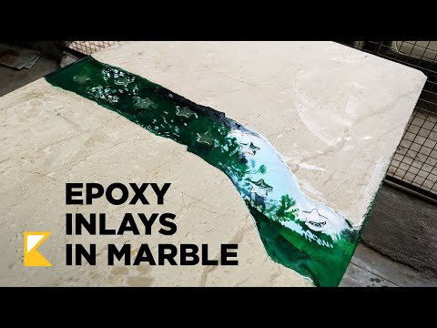 Epoxy Marble table with Inlays