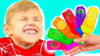 Los niños hacen helado con frutas y aprenden colores parte 1