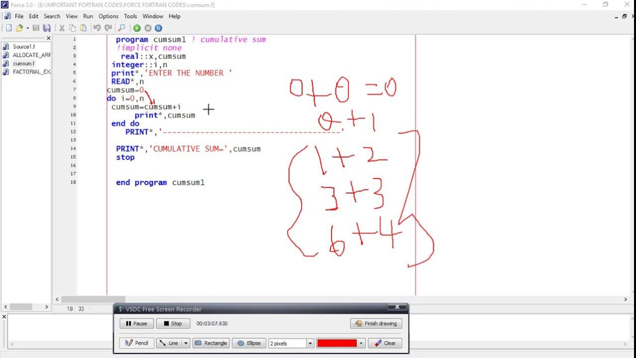 Cumulative Sum In Fortran Youtube