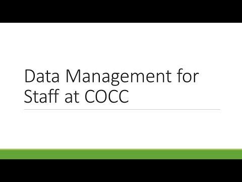 Data Management for Staff