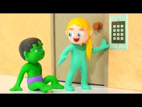 SUPERHERO BABIES & SECURITY DOOR ❤ Spiderman, Hulk & Frozen Play Doh Cartoons For Kids