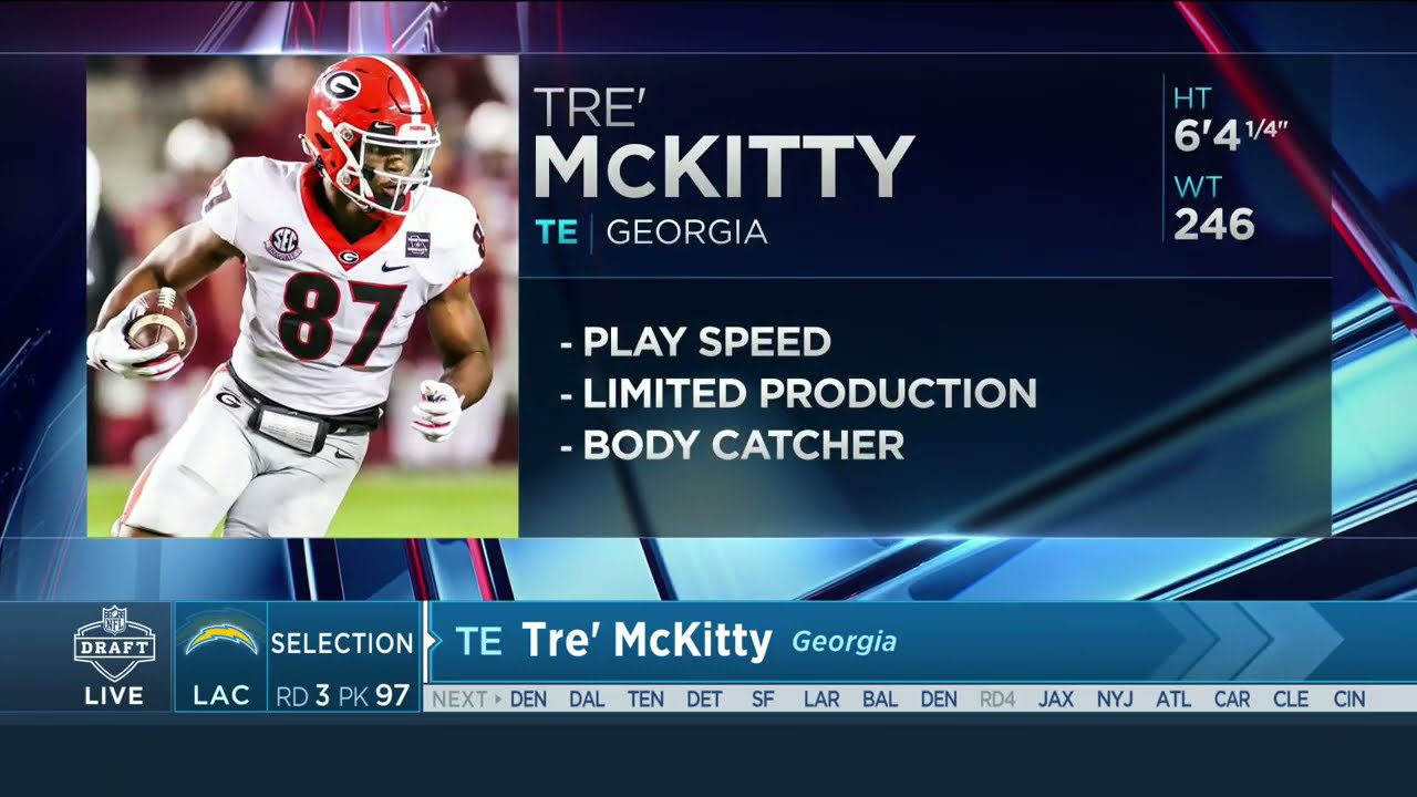 The Los Angeles Chargers Select Georgia TE Tre' McKitty With The 97th Pick    2021 NFL Draft - YouTube